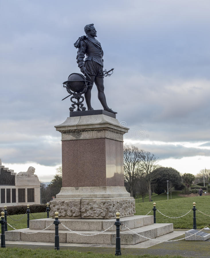 Statua Sir Francis Drake Plymouth zdjęcia royalty free