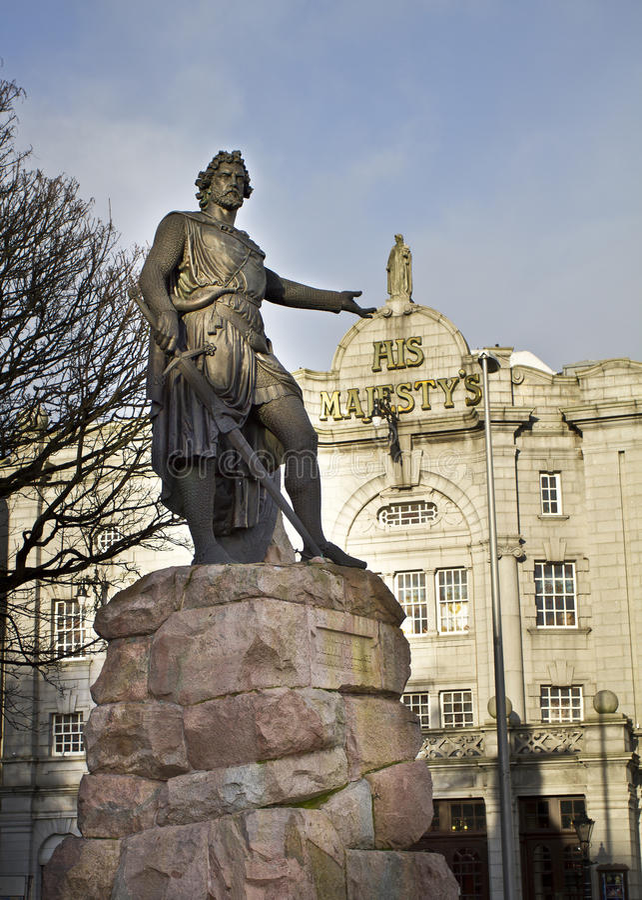 Statua Sir William Wallace, Aberdeen, Szkocja zdjęcie stock
