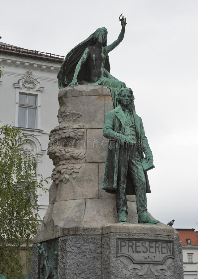 Statua slovenian poeta Francja Preseren w Ljubljana, Slovenia zdjęcie royalty free