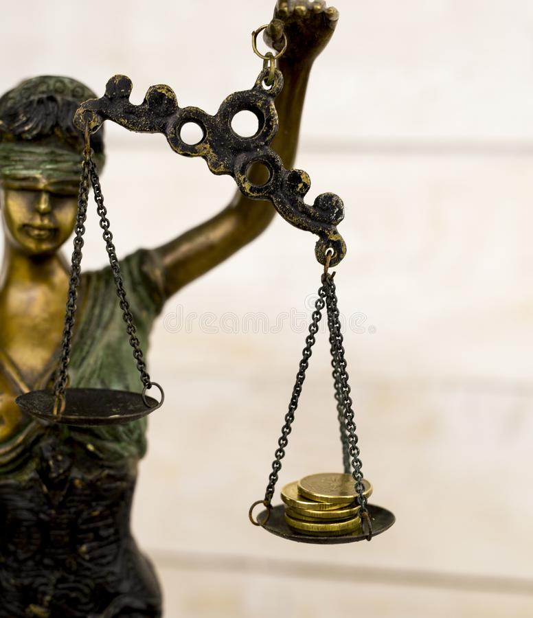 Statua sprawiedliwość - damy sprawiedliwość, Iustitia lub Justitia/ zdjęcie stock