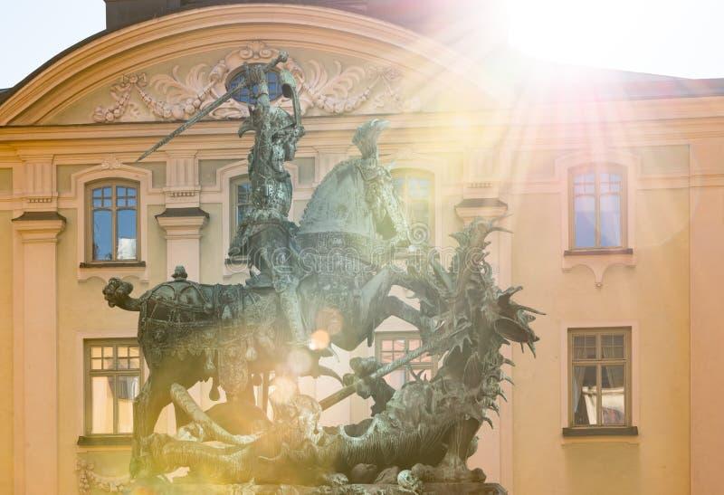 Statua St George i smok w Sztokholm fotografia stock