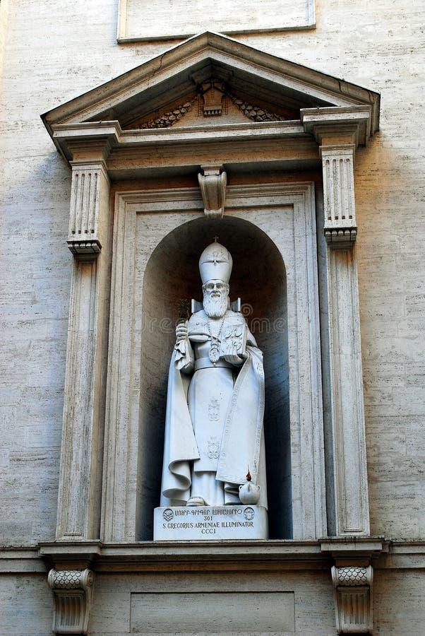 Statua St Gregorius Armeniae iluminator przy StPeter bazyliką w Watykan obrazy royalty free
