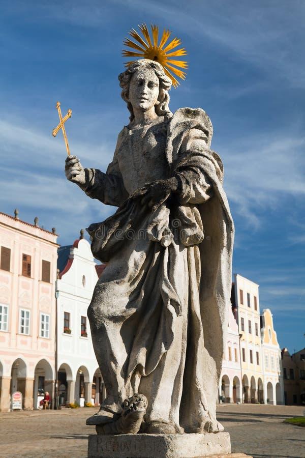 Statua st Margaret na Telc lub Teltsch rynku obraz royalty free