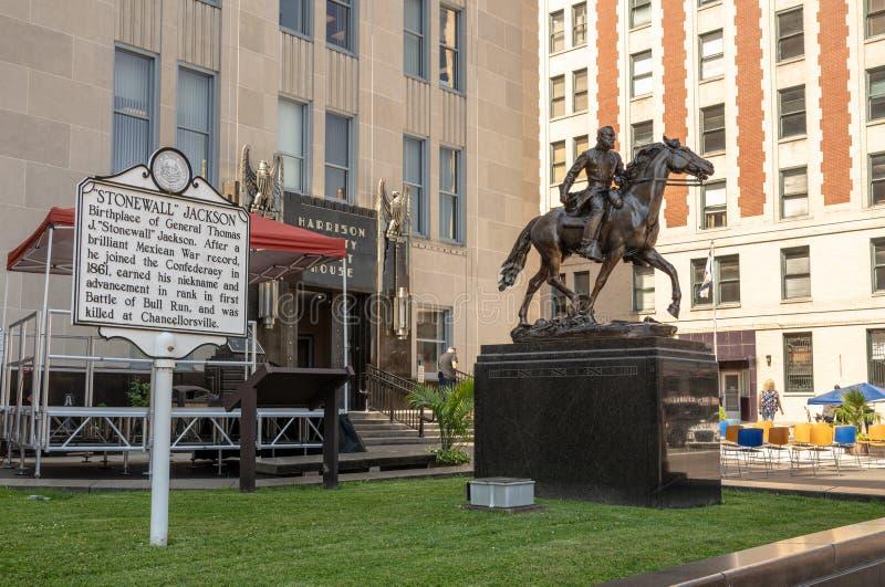 Statua Stonewall Jackson w Clarksburg Zachodnia Virginia zdjęcia stock