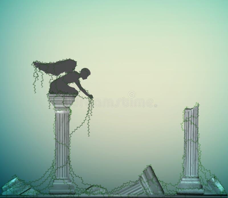 Statua sulla colonna del marple fra le rovine antiche con le piante ricce, immortalità di angelo di civilizzazione, posto segreto illustrazione di stock
