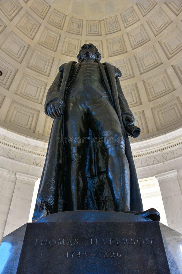 Statua Thomas Jefferson Pamiątkowy widok od dna Washington DC, usa obrazy royalty free