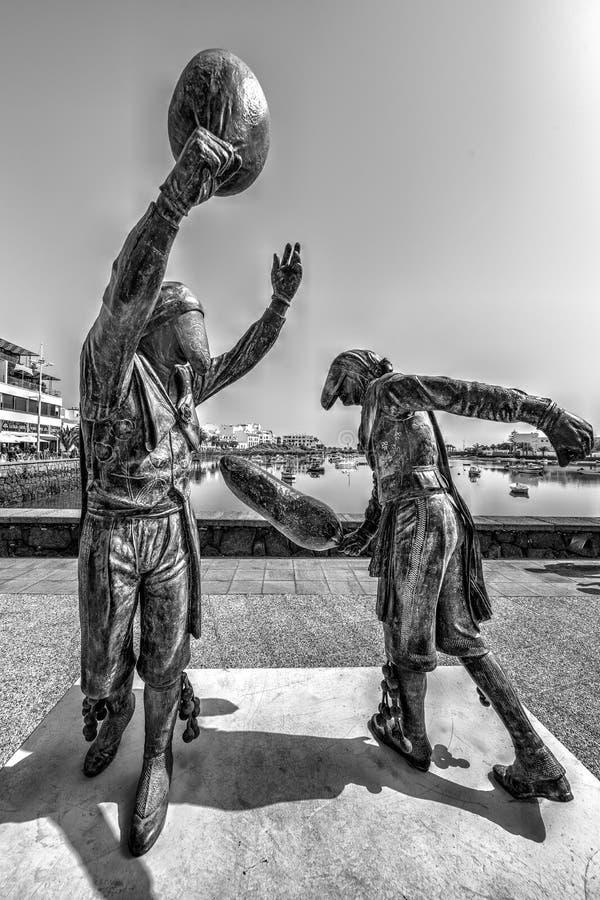Statua tradycyjny sport w Lanzarote zdjęcie stock