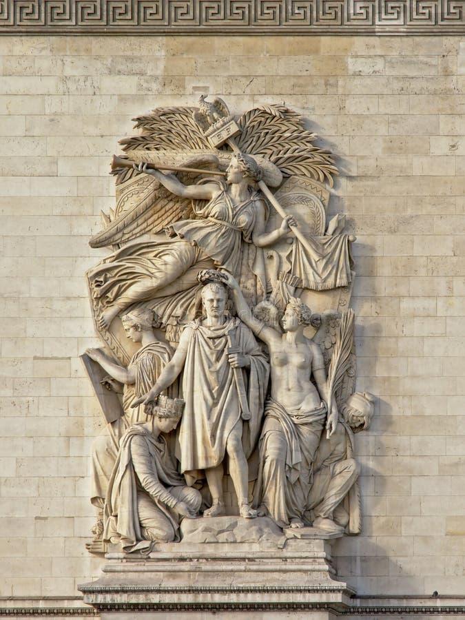 Statua triomph, szczegół łuku De Triomphe zabytek w Paryż zdjęcie royalty free