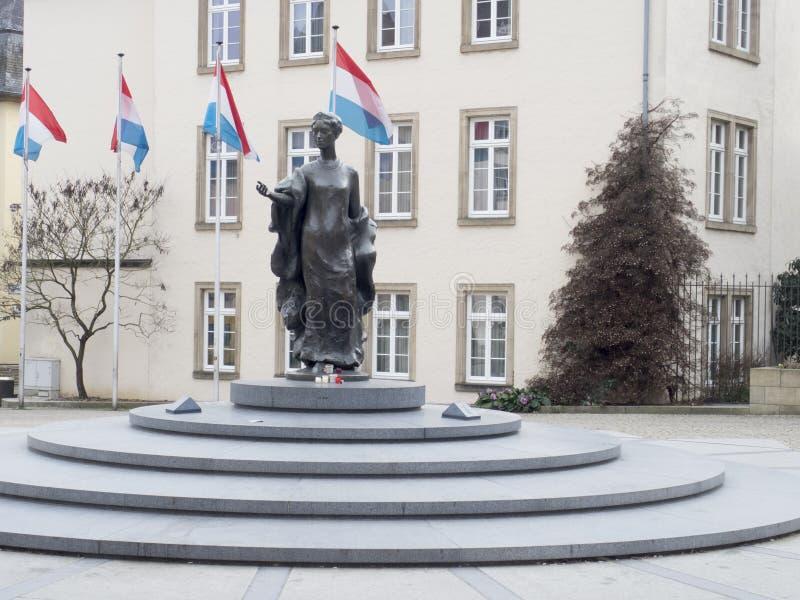 Statua Uroczysty Duchess Charlotte, Luksemburg miasto obrazy stock