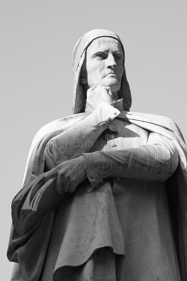 Statua van Zwart-witte Dante - royalty-vrije stock foto