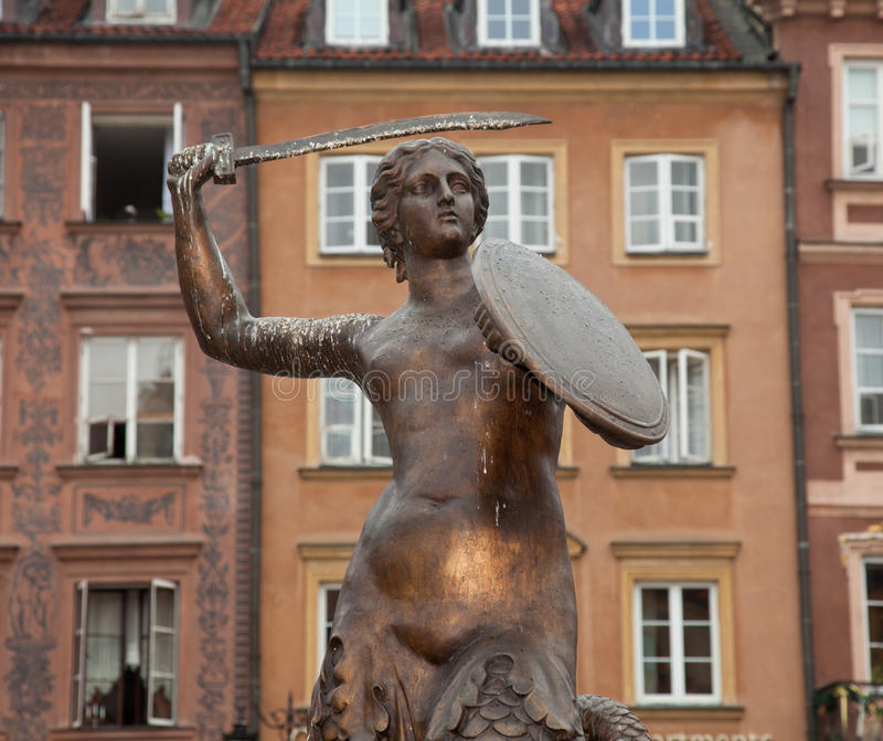 Statua Varsavia della sirena immagini stock libere da diritti