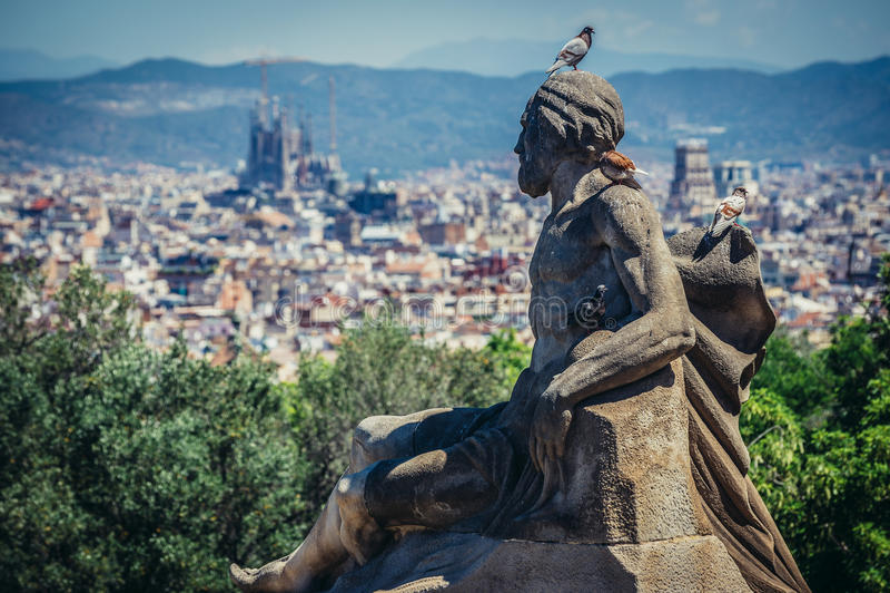 Statua w Barcelona zdjęcia royalty free