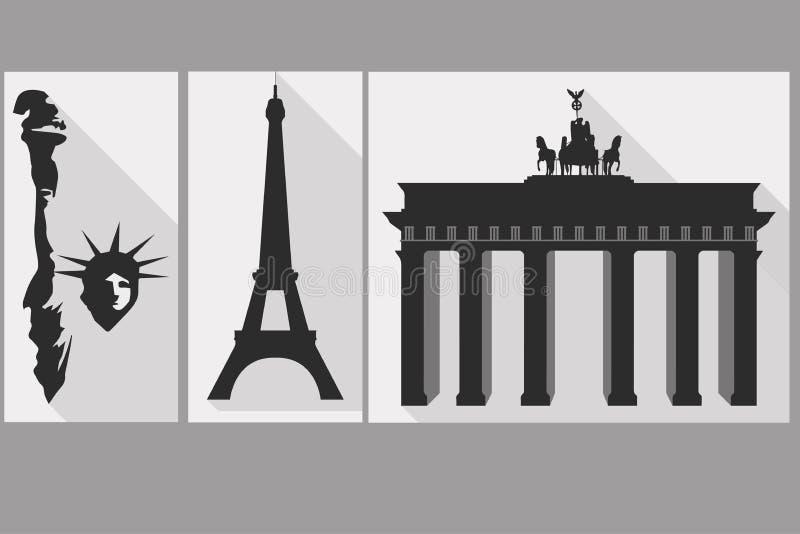 Statua Wolności brama brandenburgii wieża eiffla Widoki royalty ilustracja