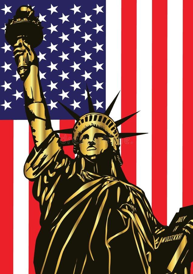 Statua Wolności i flaga amerykańska - wektor fotografia stock
