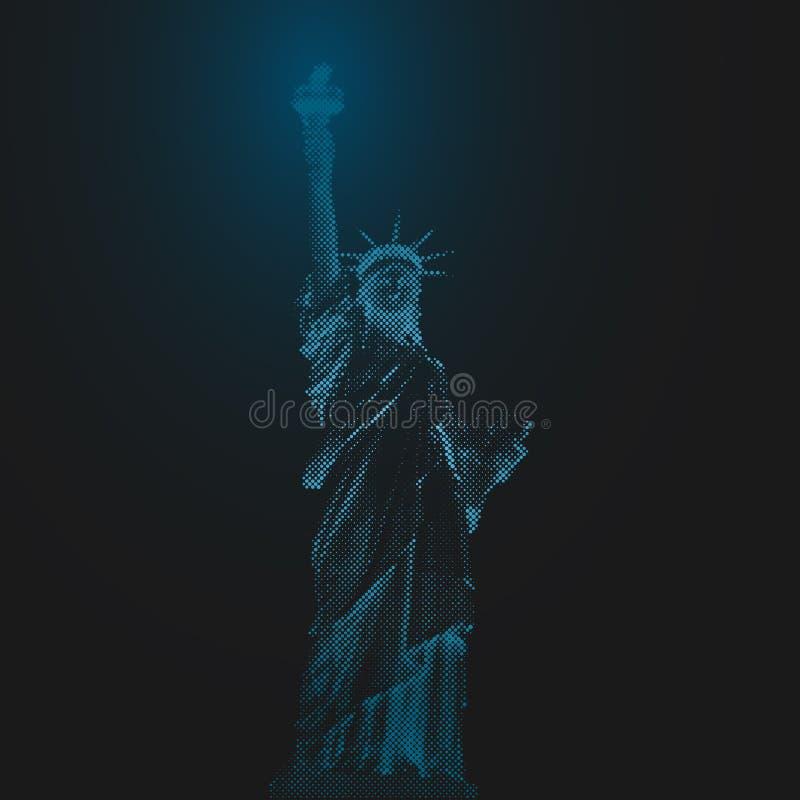 Statua Wolności, Nowy Jork, usa Halftone ilustraci kropki Błękit prowadził lekkiego futurystycznego projekt na ciemnym tle ilustracja wektor
