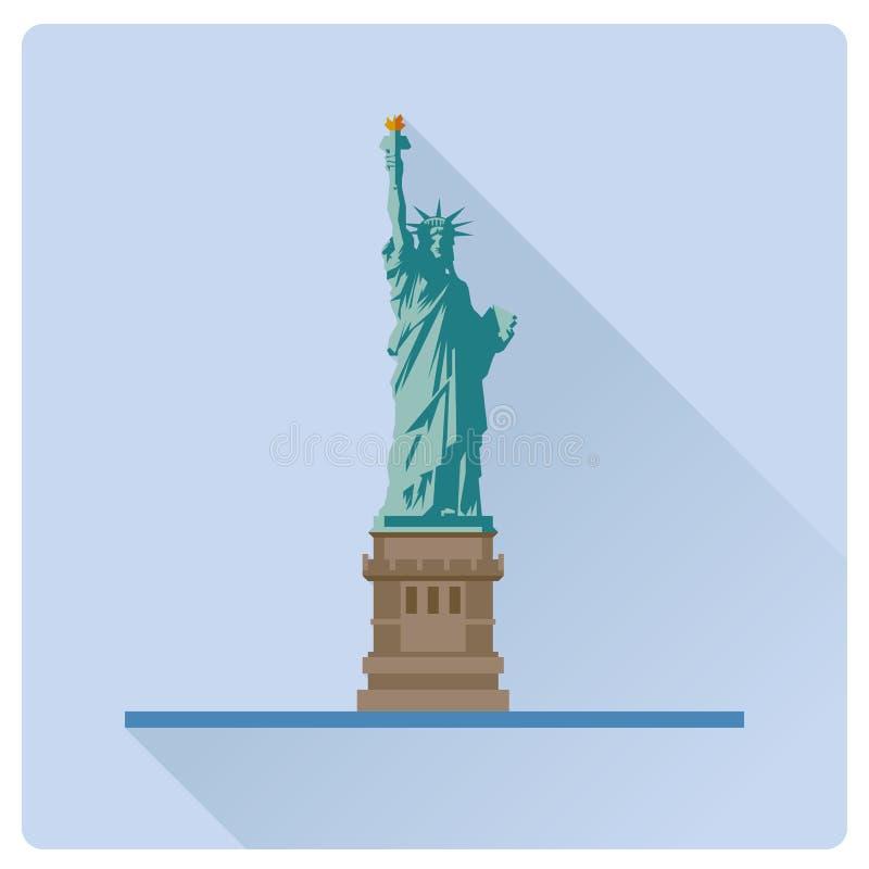 Statua Wolności przy Nowy Jork płaskiego projekta cienia wektoru długą bolączką ilustracji