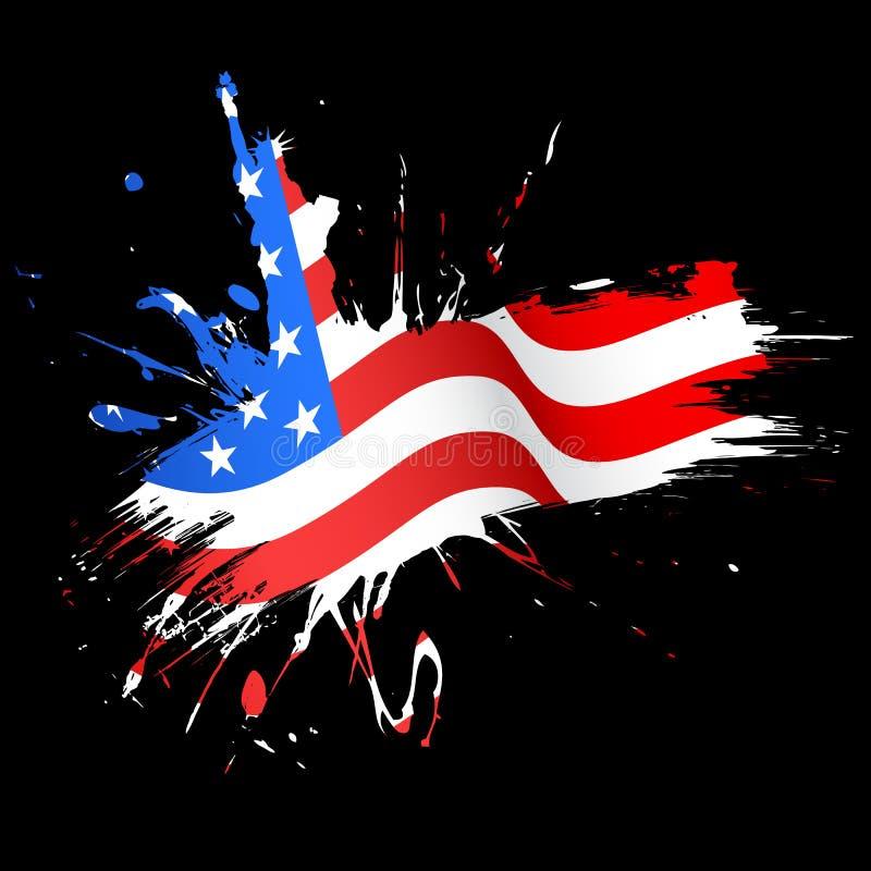 Statua Wolności z flaga amerykańską royalty ilustracja