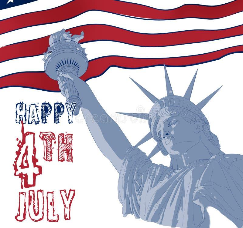 Statua Wolności z flaga amerykańską na tle Projekt dla Lipa świętowania usa fourth amerykański symbol ilustracja wektor