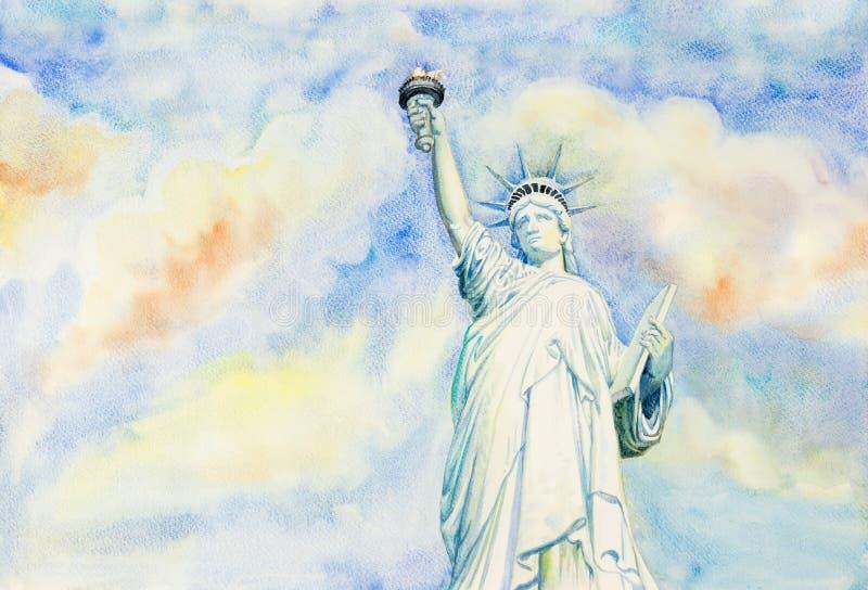 Statua Wolności z niebem, obłoczny tło ilustracji