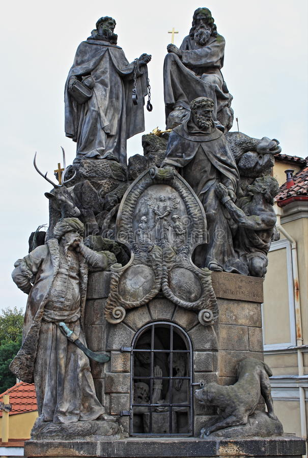 Statuary of St. John of Matha, St. Felix of Valois and St. Ivan stock photography