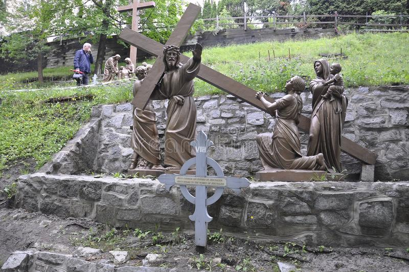 The 8th Station of the Cross with Jesus from Sainte Anne de Baupre Sanctuary from Quebec stock images