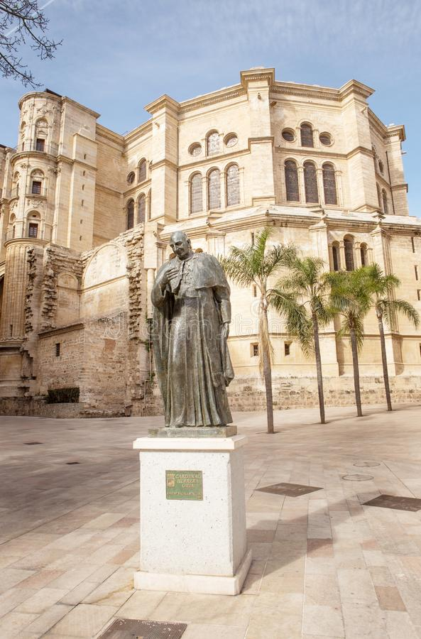 Statue of Ángel Herrera Oria in malaga spain royalty free stock photo