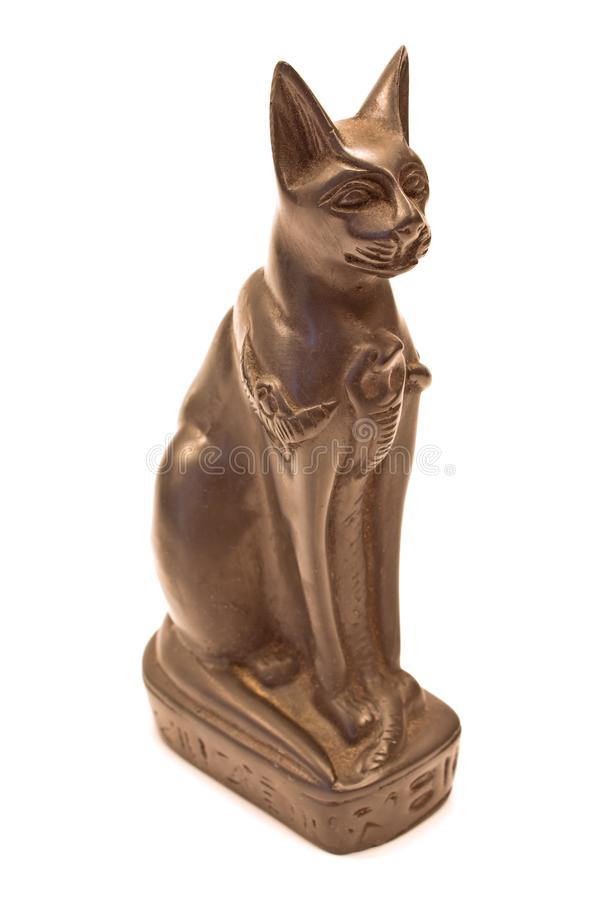 Statue égyptienne de chat noir d'isolement sur le blanc photo stock