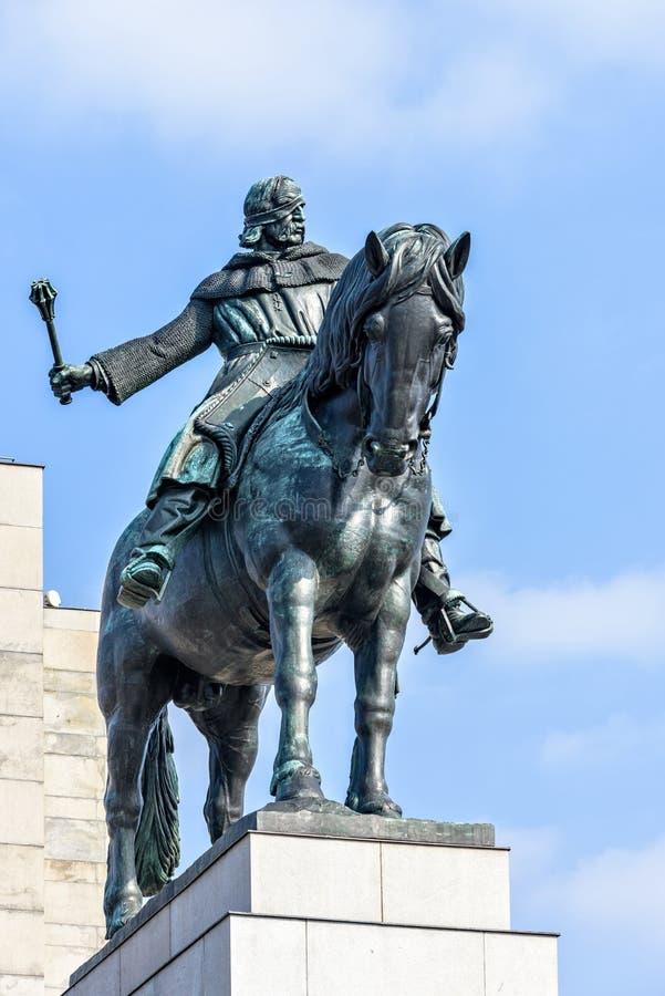 Statue équestre de Jan Zizka près de mémorial de Vitkov photos stock