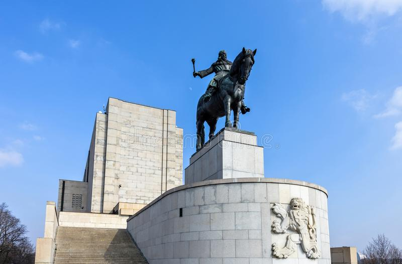 Statue équestre de Jan Zizka près de mémorial de Vitkov photo libre de droits