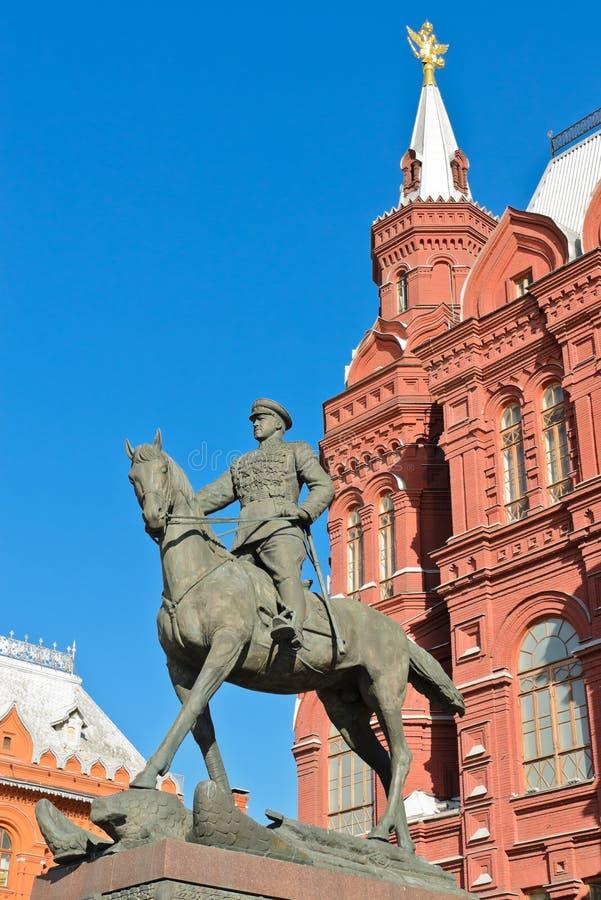 Statue équestre de maréchal Zhukov image libre de droits