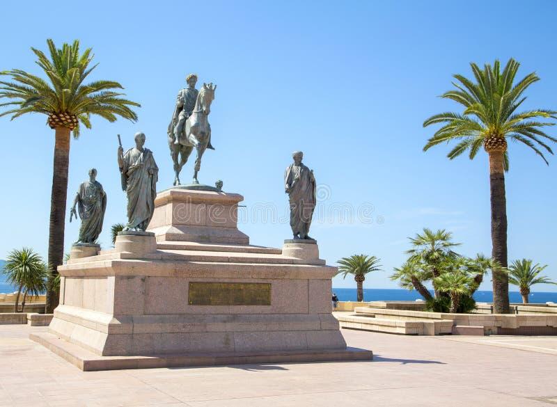 Statue équestre de Napoleon Bonaparte, Ajaccio, France images libres de droits