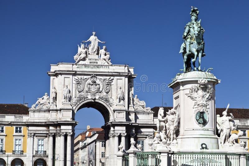 Statue équestre du Roi Jose I images stock