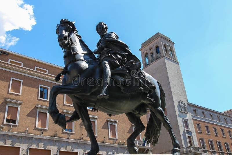 Statue équestre en bronze d'Alessandro Farnese, photos libres de droits