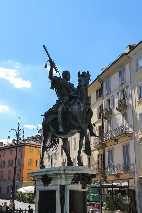 Statue équestre en bronze d'Alessandro Farnese, photographie stock
