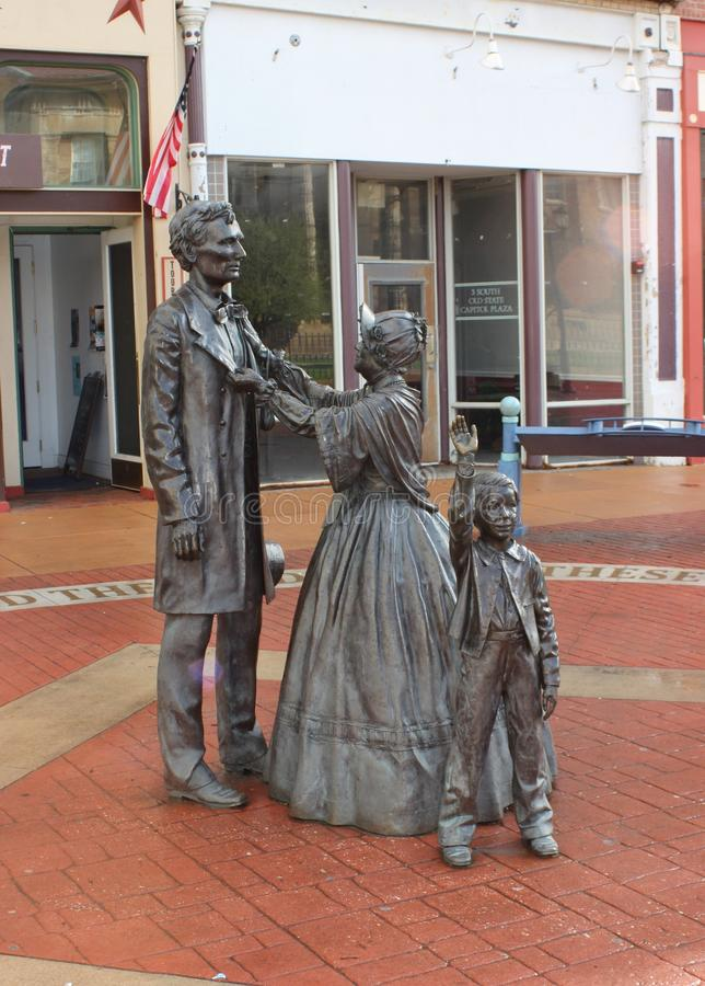 Statue of Abe Lincoln, Mary Todd Lincoln, and Son, Springfield, IL royalty free stock images
