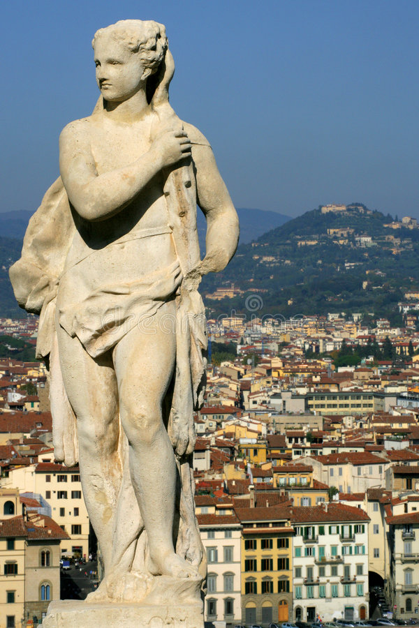 Statue above Florence stock photos