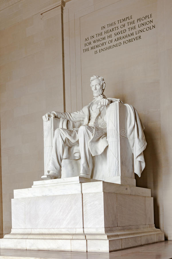Statue of Abraham Lincoln at the Lincoln Memorial royalty free stock photography