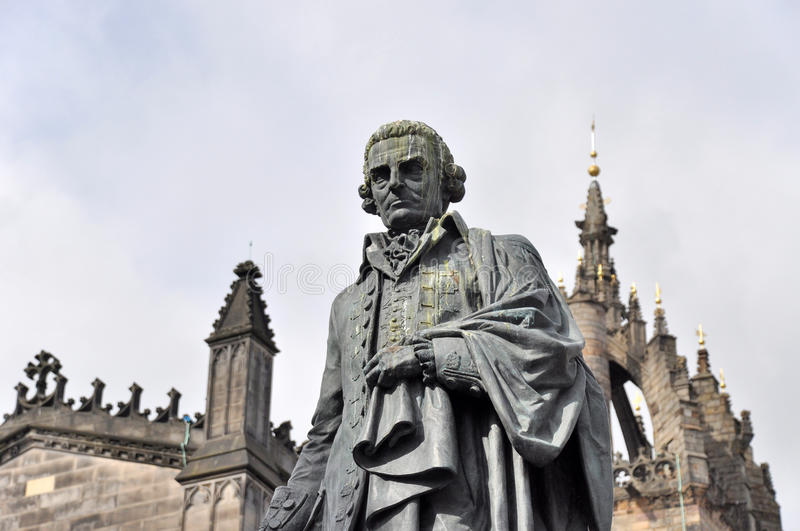 Statue of Adam Smith in Edinburgh. In front of St.Giles Cathedral at Parliament Square royalty free stock images
