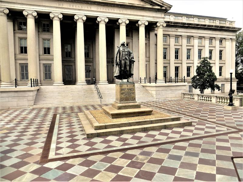 Statue of Albert Gallatin outside United States Treasury, Washington DC. Statue honoring Gallatin, the fourth and longest serving Secretary, stands in plaza stock image