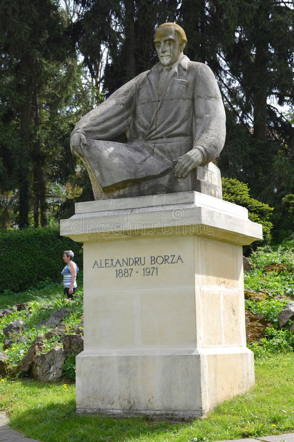 Statue of Alex. Borza in the Botanical garden in Cluj Napoca, Transylvania. royalty free stock photography