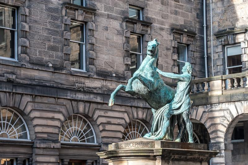 A statue of Alexander and Bucephalus in the City Chambers, Edinburgh Scotland. A statue of Alexander and Bucephalus in the City Chambers, Edinburgh, Scotland stock photos