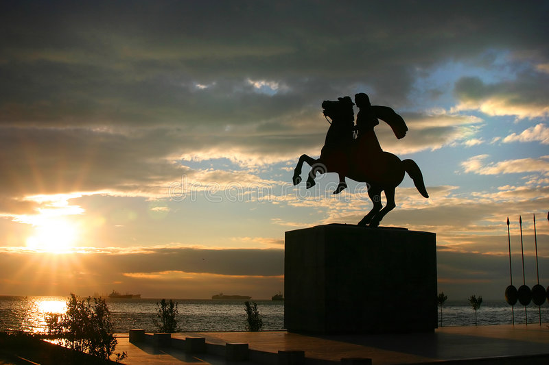 Statue of Alexander the Great. Statue of King Alexander the Great in Thessaloniki (Greece) stock photos