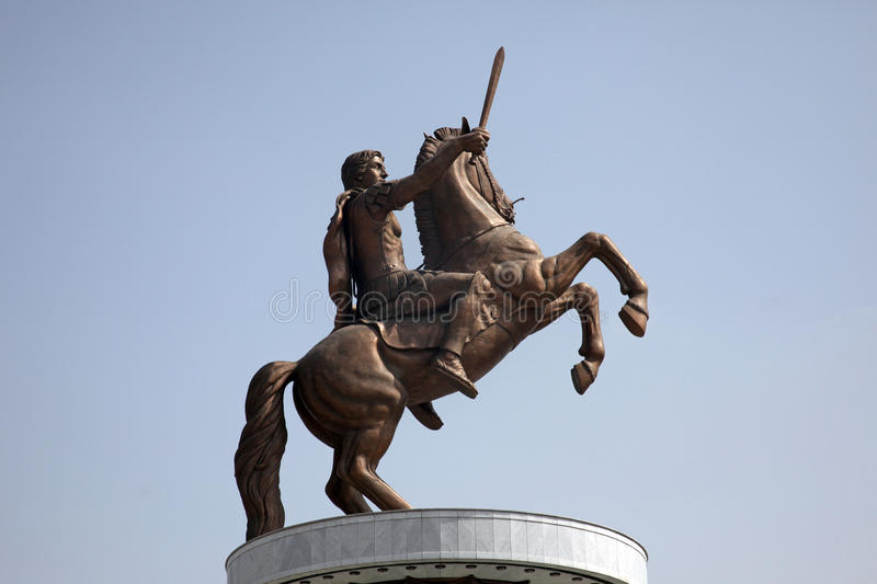 Statue of Alexander the Great in Skopje royalty free stock images