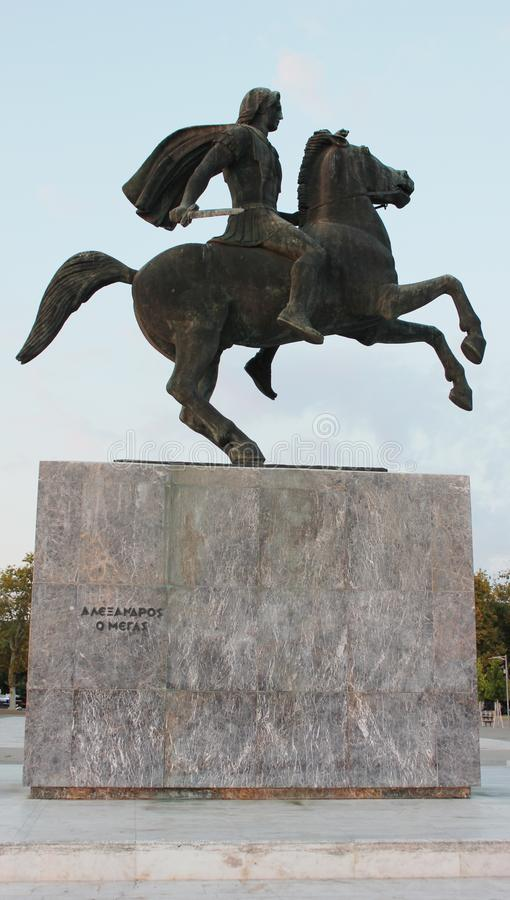 Statue of Alexander the Great Thessaloniki Greece royalty free stock images