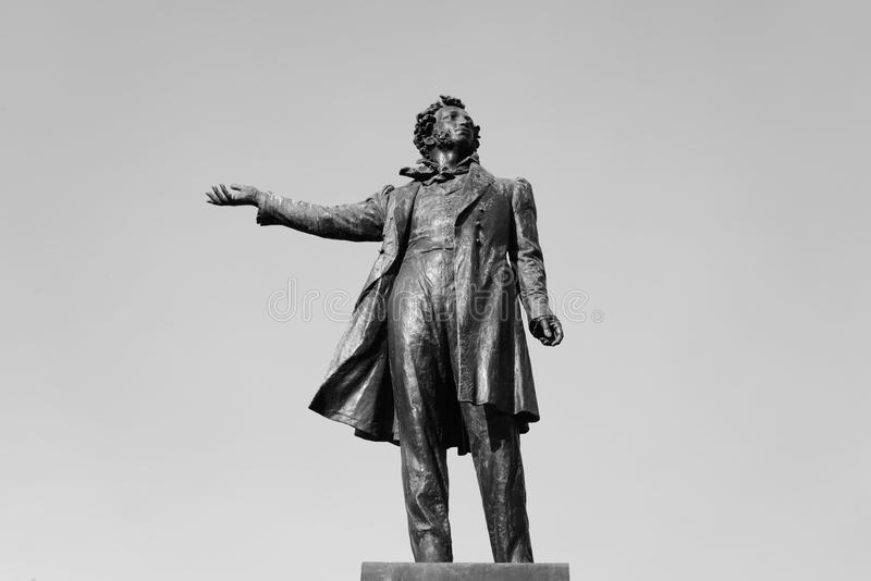 Statue of Alexander Pushkin. Statue of Alexander Pushkin on Arts Square in St.Petersburg, Russia. Black and white stock images