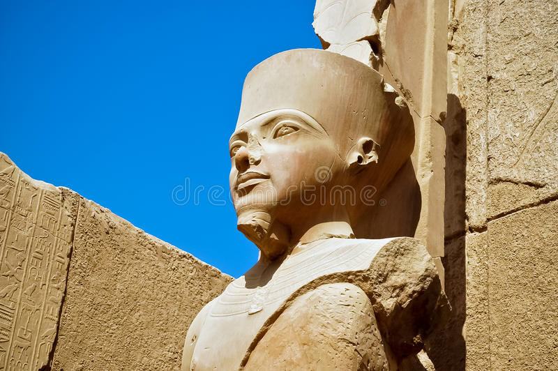 The statue of Amun Re in Luxor. A statue of Amun Re in the Temple of Amun in Karnak, Luxor, Egypt royalty free stock photos
