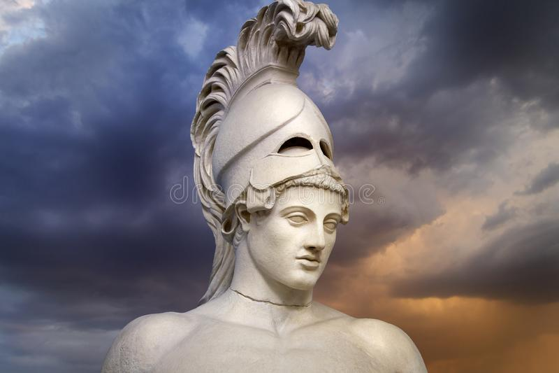 Statue of ancient Athens statesman Pericles. Head in helmet Greek ancient sculpture of warrior. royalty free stock image