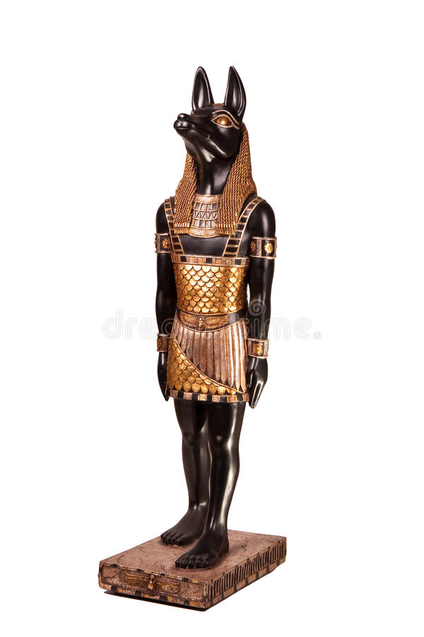 Statue of ancient Egyptian god Anubis. A carved statue of the ancient Egyptian god Anubis (the jackal royalty free stock photos