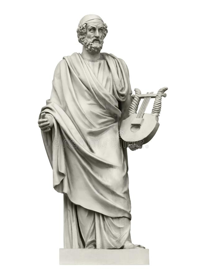 Statue of the ancient Greek poet Homer. The author of the Iliad and the Odyssey. Isolated on white royalty free stock photos