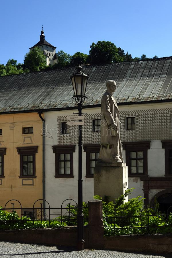Banska Stiavnica, Old Town, Slovakia, UNESCO. The statue of Andrej Kmet in front of mining museum in famous mining town Banska Stiavnica in Slovakia - UNSECO stock photography